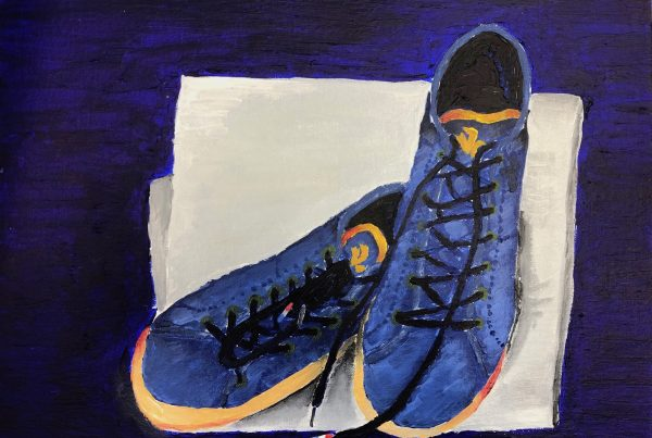 Canvas painting of trainers