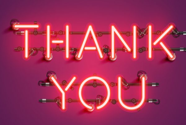 Neon thank you sign