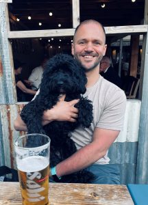 Steve Ward with his pet dog.